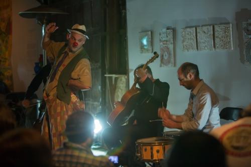 Perruque trio - (from left) Aaron Tucker,Kurt Newman, and Chris Cogburn (Bassist Juan Garcia is behind Tucker) - photo by Gudinni Cortina